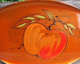 Vintage Lacquerware ORANGE Tray fruit or vegetable