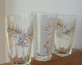 Set of 3 Feathers and Leaf Glassware