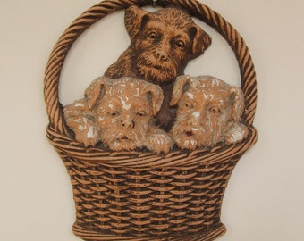 OrnaWood Basket of Terriers Wall Hanging-dogs-puppies