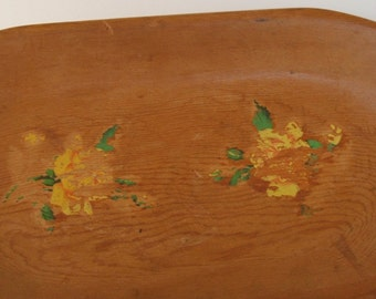 Vintage Wood Platter Tray Bowl with chippy yellow roses