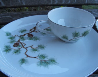 4 piece PINE China Luncheon Set for Two