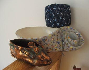 Mix and Match Copper and Blues Ceramic Planter Bronzed Baby Bootie Craft Ribbon