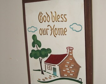 God Bless Our Home chalkware plaque wall hanging