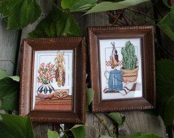 Vintage Pair of Cross Stitch Southwestern Still Life Themes