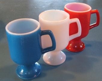 18 Red White Blue Milk Glass Mugs