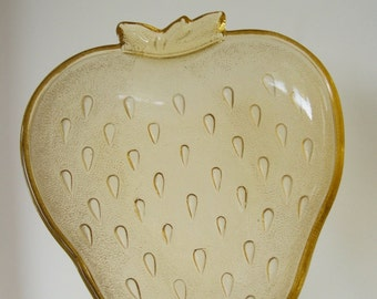 Vintage Amber Glass Strawberry Plate Dish