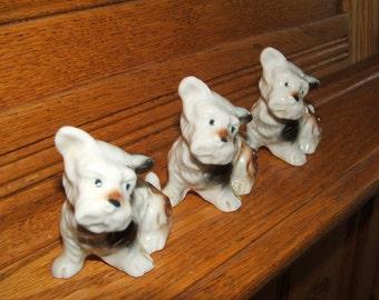 Three Terriers Vintage Figurines