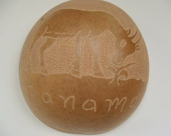 Vintage Panama Gourd with Carved Goat Design