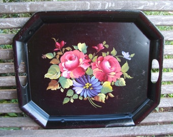 Vintage Tole Tray Black Metal with Pink and Blue Floral Painting