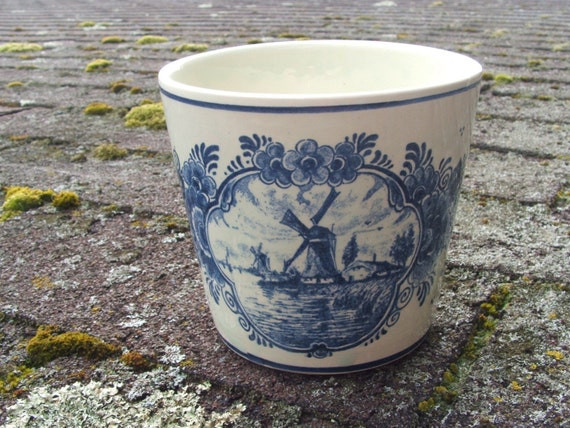 Vintage Blue Delft Flower Pot
