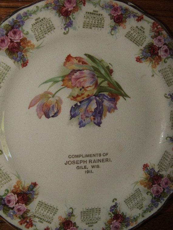 Antique Calendar Advertising Plate Joseph Raineri Gile Wisconsin