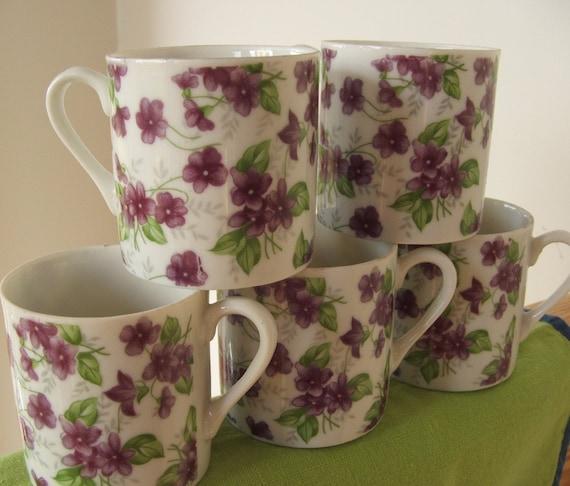 Set of 5 Vintage Violets Demitasse Cups Mugs Made in Japan