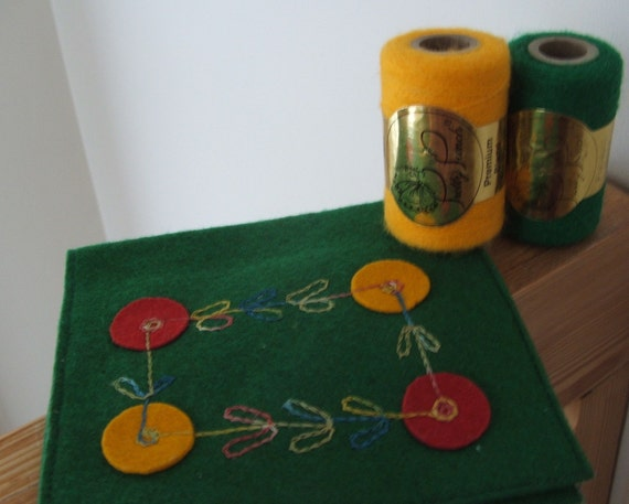 Pretty Punch Acrylic Yarn in Green and Yellow and Felt Pouch