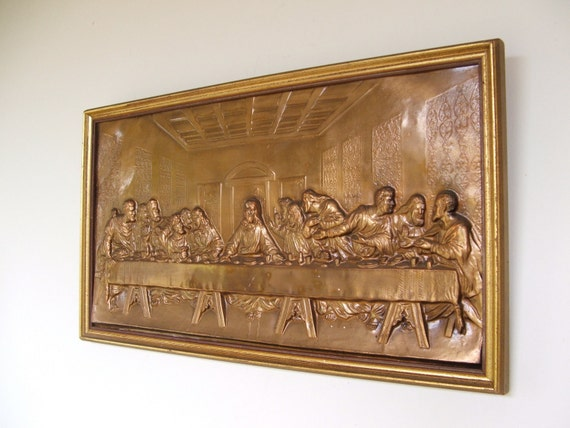 Vintage Pressed Copper Last Supper Framed
