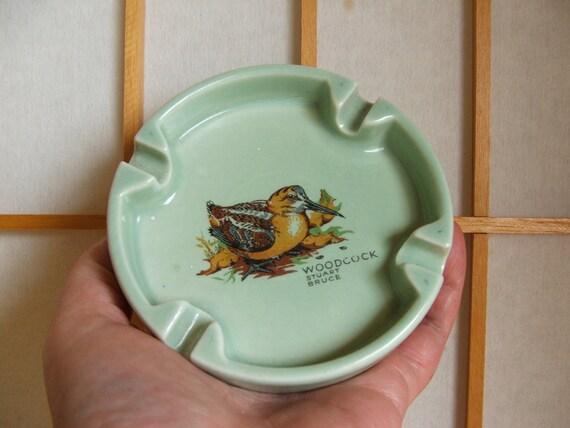 Vintage Pottery Ashtray with Woodcock by Stuart Bruce