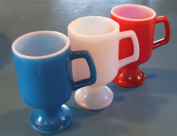 18 Red White Blue Milk Glass Mugs