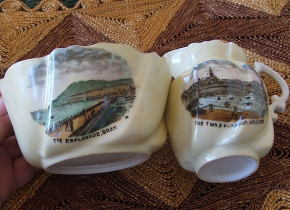 Beautiful Antique Souvenir Cream and Sugar Kingstown Harbour now  Dun Laoghaire Ireland