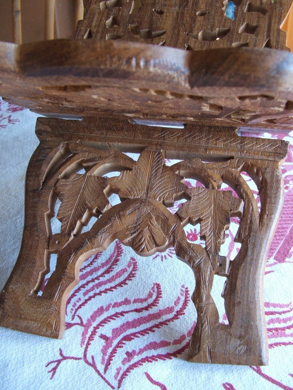 Vintage Wooden Carved Book Stand from India