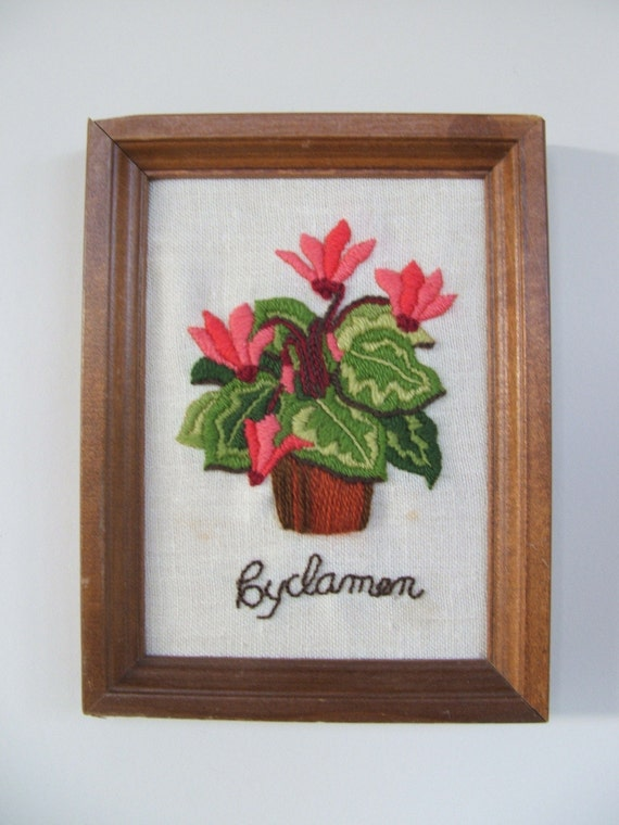 Vintage Framed Crewel Embroidery Cyclamen
