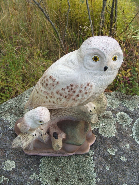 Vintage Ceramic Snowy Owls Mama and Baby