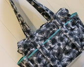 Diaper Bag for Twins Custom Made to Order Large Size in Blue and Charcoal Grey