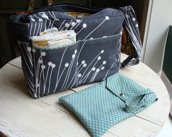 Medium Size Custom Messenger Zippered Top Diaper Bag Set Handmade in Your Choice of Fabric