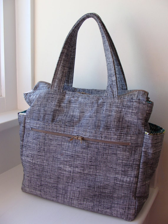 Large Zippered Diaper Bag Tote Custom Made to Order