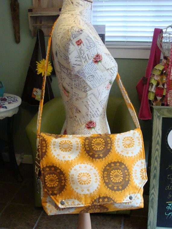Brown and Orange Retro Messenger Crossbody Diaper Bag Tote
