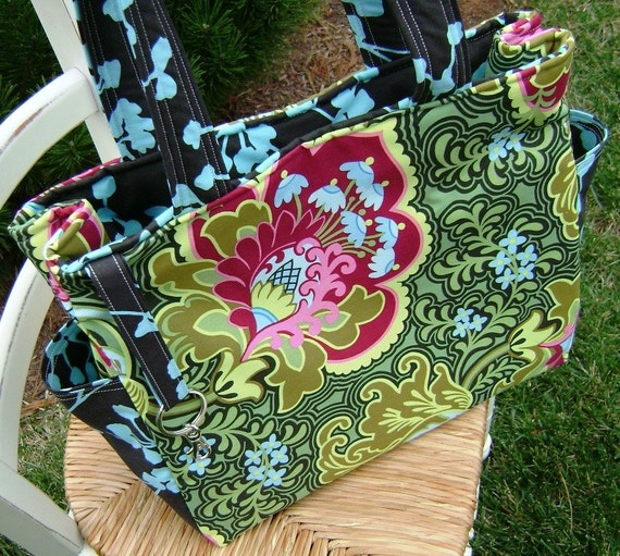 Deluxe Diaper Bag --- Crafted from Amy Butler's Burgundy Gothic Rose and Pine Coriander fabric --- FREE Shipping