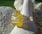 Sunny Golden Citrine Seaglass Summer Ring- Beach Jewelry