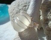 Moonstone Seaglass Summer Ring- Beach Jewelry