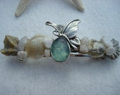 Rare Blue Gray Seaglass Whimsical Butterfly and Shell Hair Barrette
