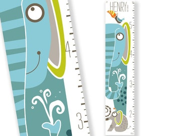 Personalized Growth Chart Jumbo the Elephant (Blue)