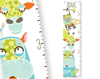 Personalized Growth Chart Safari (Green)