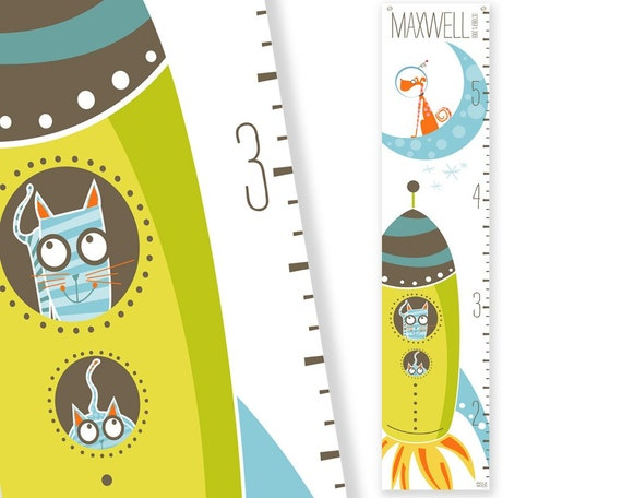 Personalized Growth Chart Galactically Grown (lime)