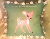 Sweet  Pepperminty Pink and Sage Green- Little Baby Reindeer or Deer-Throw Pillow-Hand Felted-Great for Sofas, Chairs, Beds-Valentine's Day