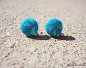 Upcycled Aqua floral fabric earrings