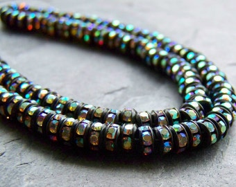 Crystal Rondelle-Jet Metal-Crystal AB Rhinestone-Czech Crystal-Crystal Bead-Crystal Rhinestone Rondelles-Preciosa-5mm-10 Beads