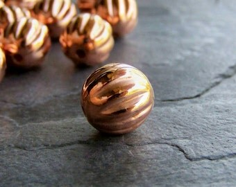 Clearance-Beads-Copper Plated Fluted Acrylic Rounds-16