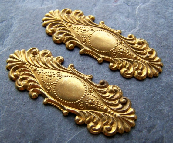 Sale-See Store Announcement-Vintage Stamping-Vintage Miriam Haskell Raw Brass Ornate Stampings-2