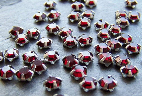 Summer Sale Event-See Store Announcement-Vintage Rose Montees-Vintage Swarovski Garnet Crystal Roses Montees-4.5mm-50