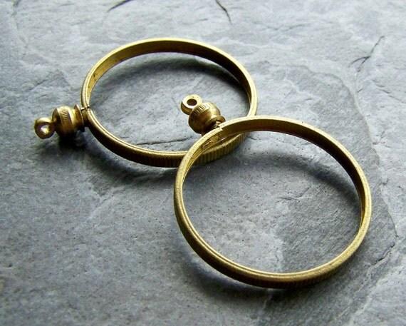 Reserved Listing for Jessica-Vintage Solid Brass Coin Holder Pendants-6