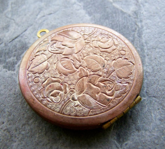 Sale-See Store Announcement-Vintage Brass Locket-Vintage Brass Large Floral Etched Locket-1