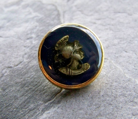 Summer Sale Event-See Store Announcement-Vintage Glass Button-Vintage Glass Cameo Warrior Button-1