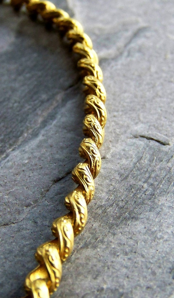 Reserved Listing for Jeanne-Vintage Solid Brass Scrolled Chain-3 Feet