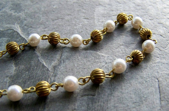 Clearance-Vintage Fluted Brass Round and Lucite Pearl Chain-By The Foot