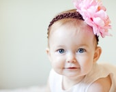 SUPER SALE\/GIVEAWAY- Emma- Chocolate Brown Infant Crochet Headband With A Beautiful Pink Peony Flower Hair Clip- For Infants, Toddlers, And Little Girls