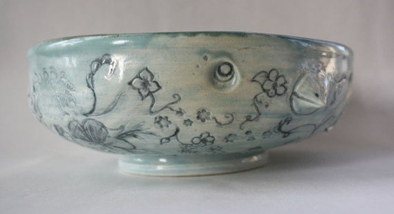 "Sea Foam F%""K YOU With Flowers Bird Bowl ""Mature Language"""