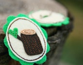 Felt Cameo Brooch Loving Log Eco