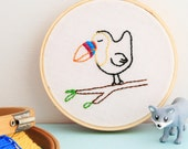 Embroidery Hoop Wall Art Toucan Hand Embroidered
